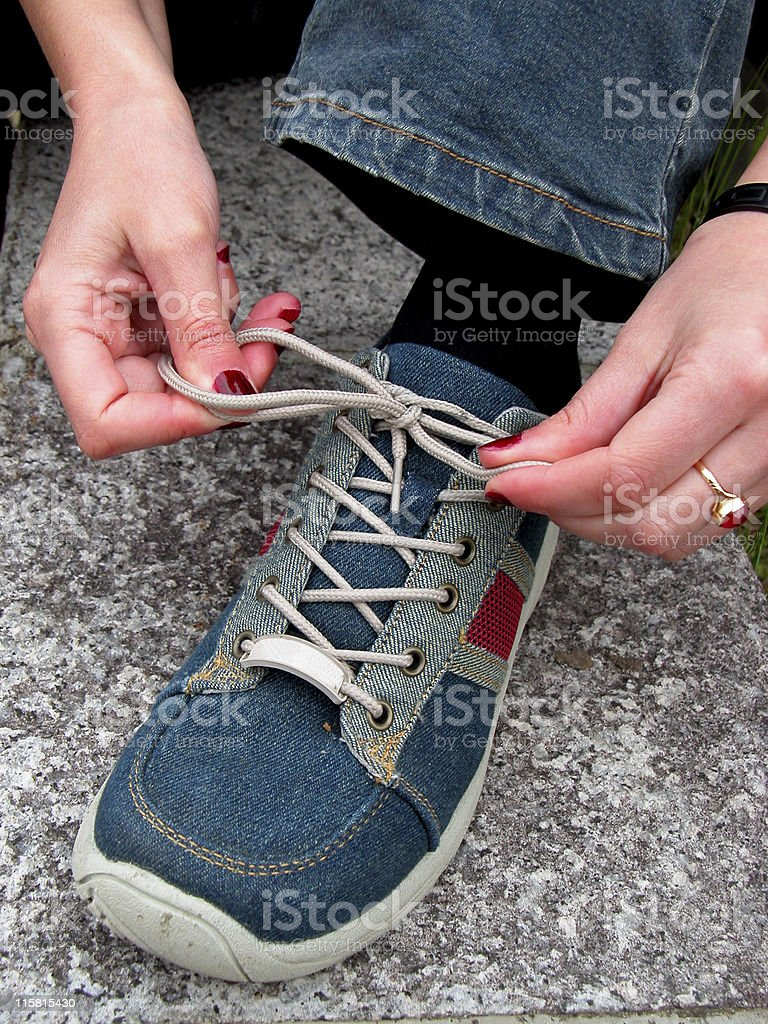 Hands and shoe royalty-free stock photo