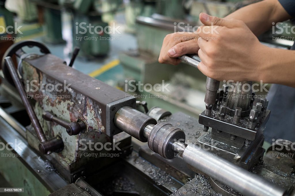 hands are setting up with machine. stock photo