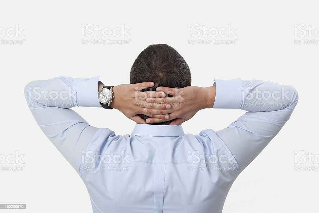 Hands Behind Head royalty-free stock photo