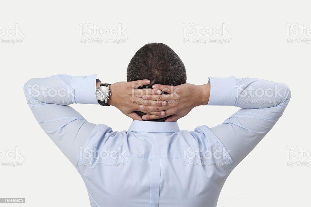 Hands Behind Head stock photo