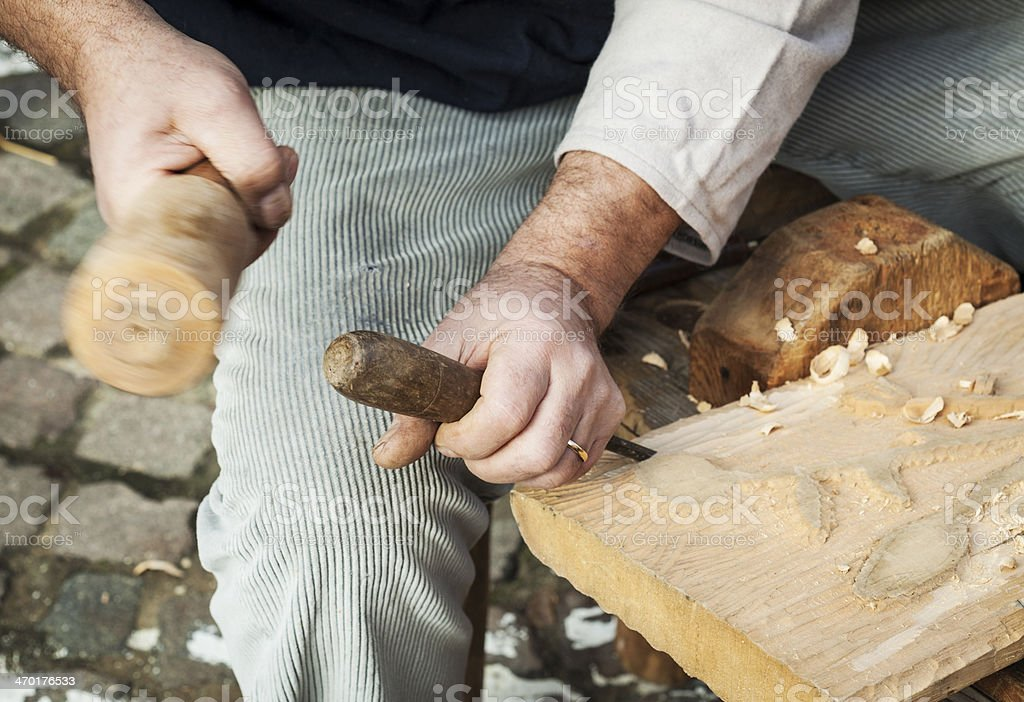Hands Carving Wood, Detail royalty-free stock photo