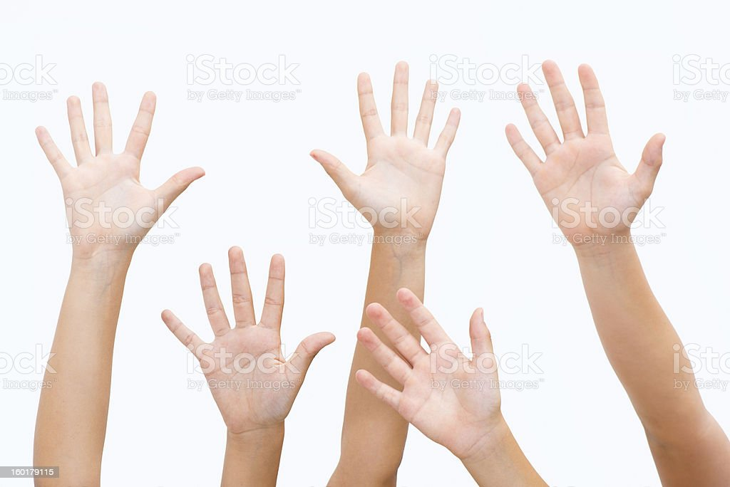 Hands cheering stock photo