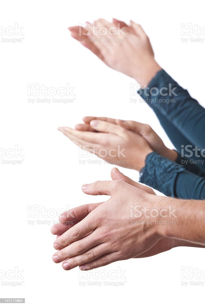 Hands Clapping on White Background royalty-free stock photo