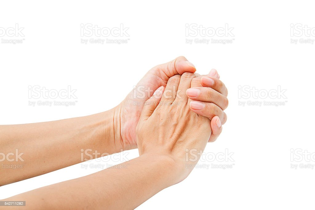 Hands clasped hands with hope isolated on white background stock photo