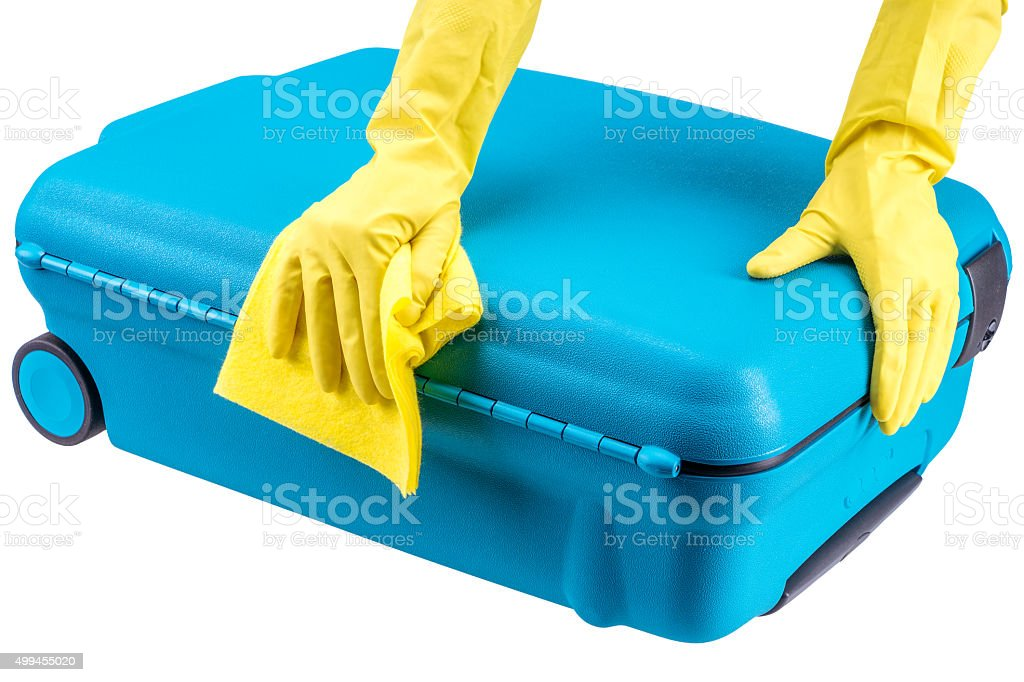 Hands clean suitcase stock photo