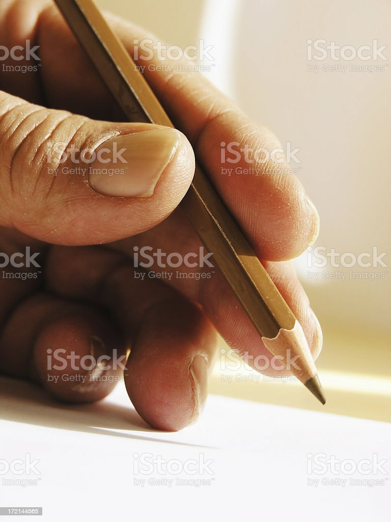 hands: close-up hand writing royalty-free stock photo