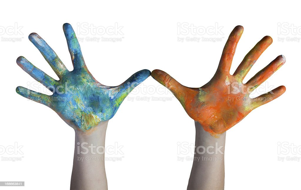hands colored royalty-free stock photo