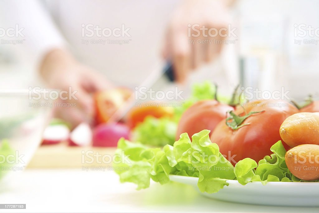 Hands  cooking vegetables salad royalty-free stock photo