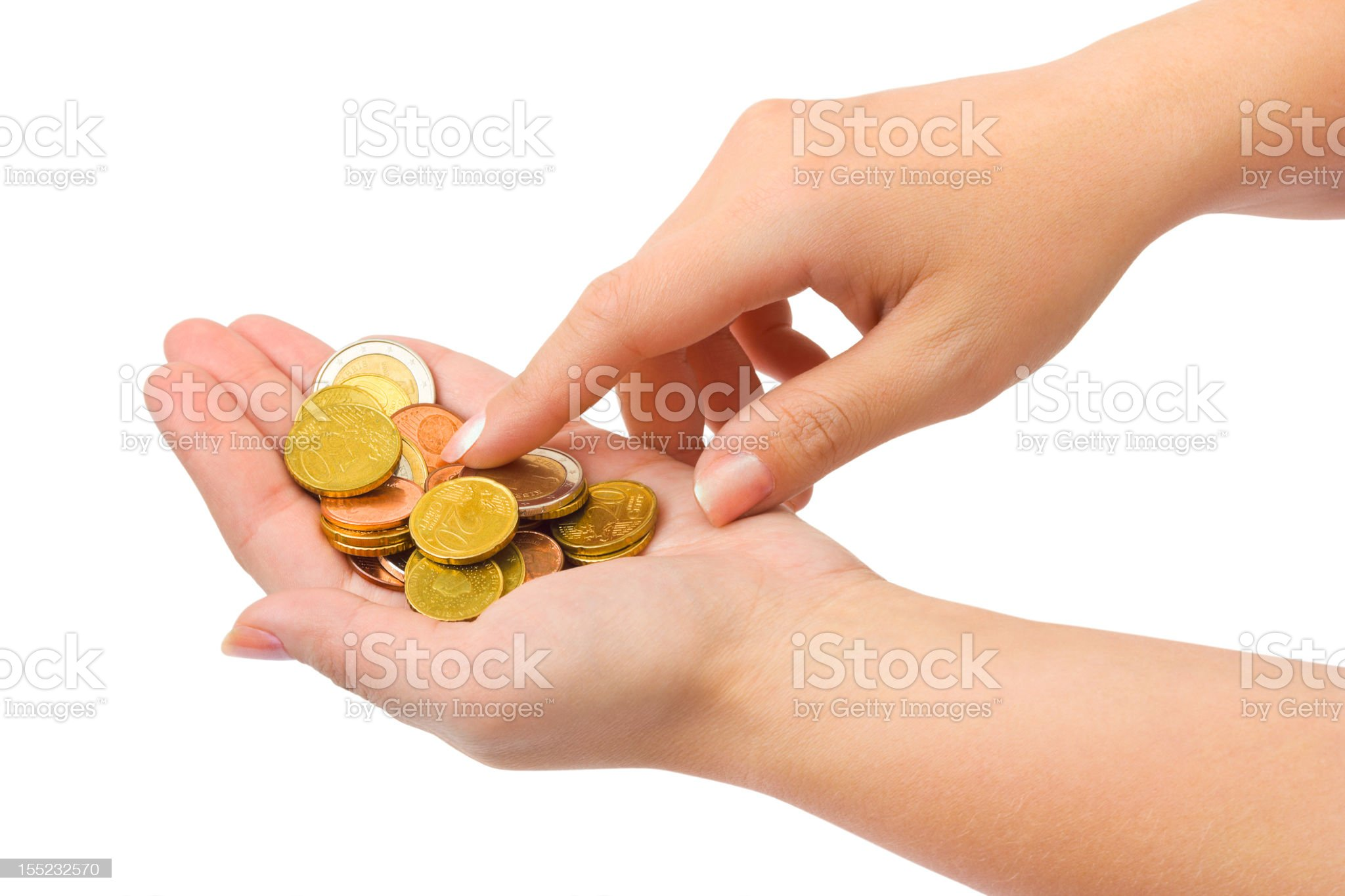 Hands counting money royalty-free stock photo