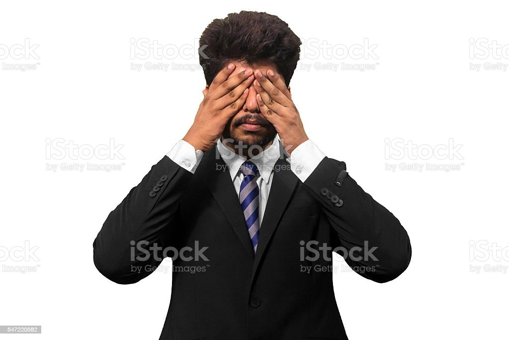 Hands covering Eyes stock photo