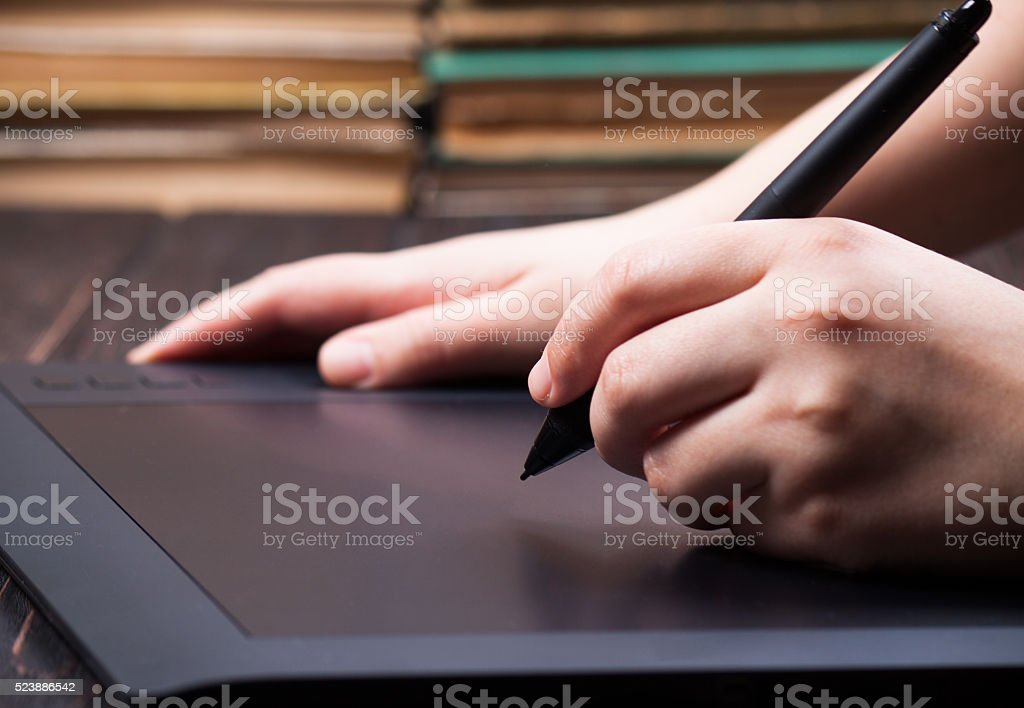 Hands designer and graphic tablet stock photo