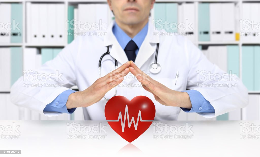 hands doctor protect heart symbol, medical health insurance concept stock photo