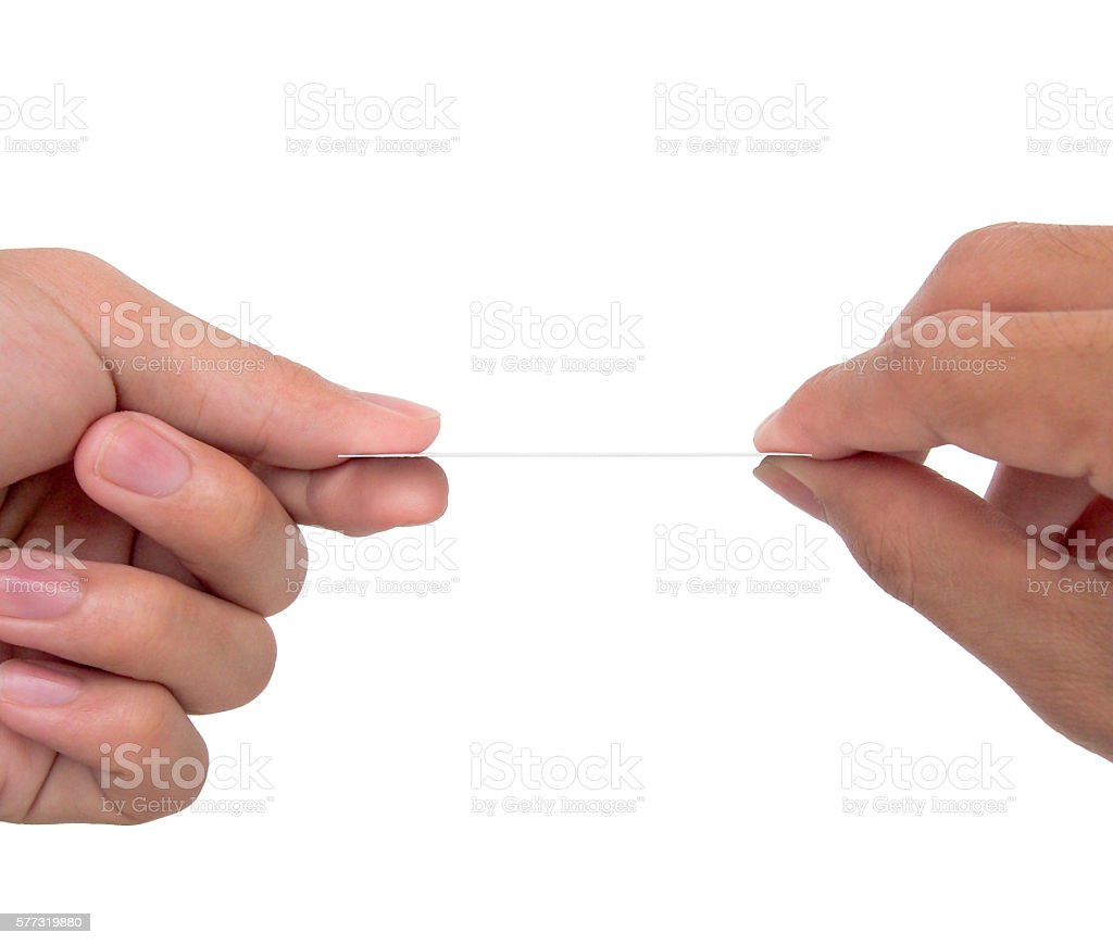 ็2 hands exchanging a card stock photo