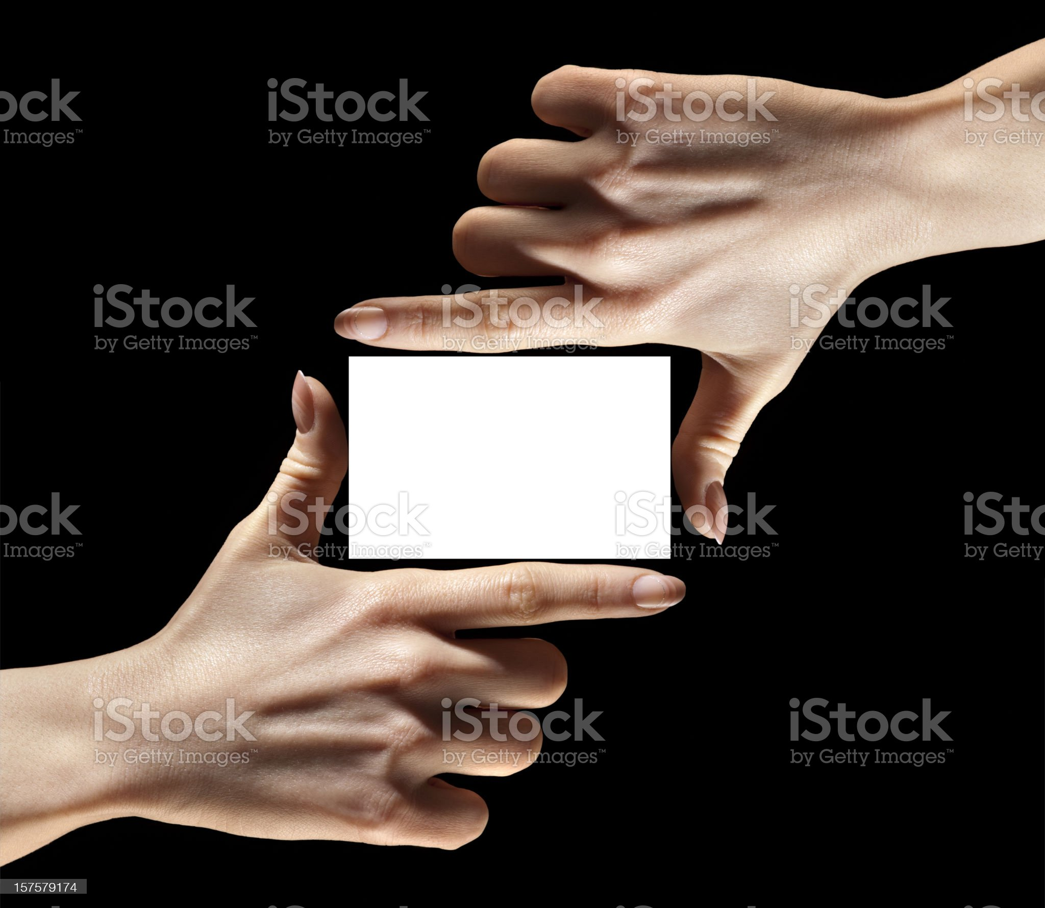 Hands Fingers Holding, Framing Blank Business Card, Insert Your Information royalty-free stock photo