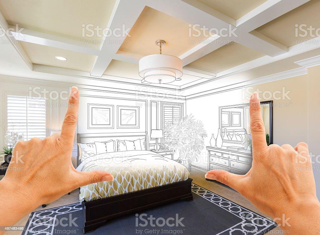 Hands Framing Custom Bedroom Drawing Photograph Combination stock photo