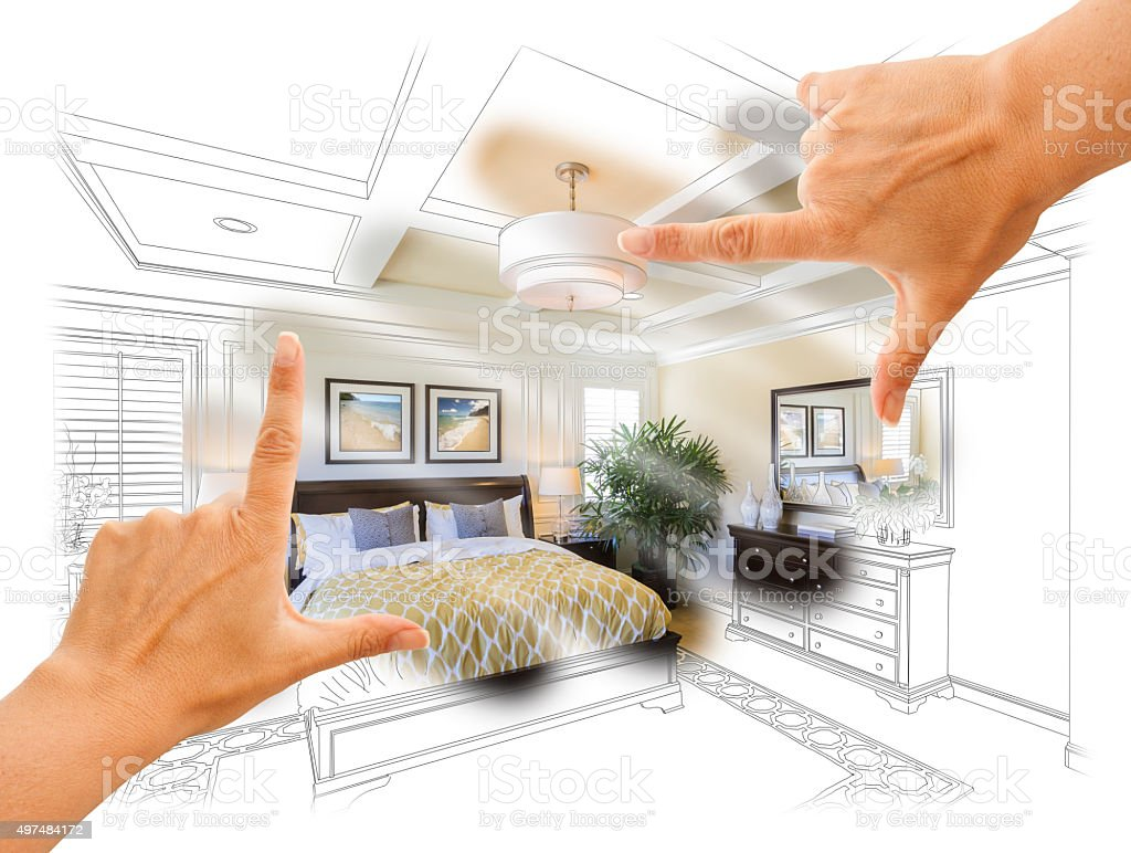 Hands Framing Custom Bedroom Drawing Photograph Combination vector art illustration