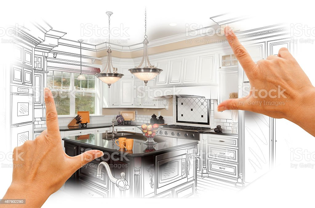 Hands Framing Custom Kitchen Design Drawing and Photo Combinatio stock photo