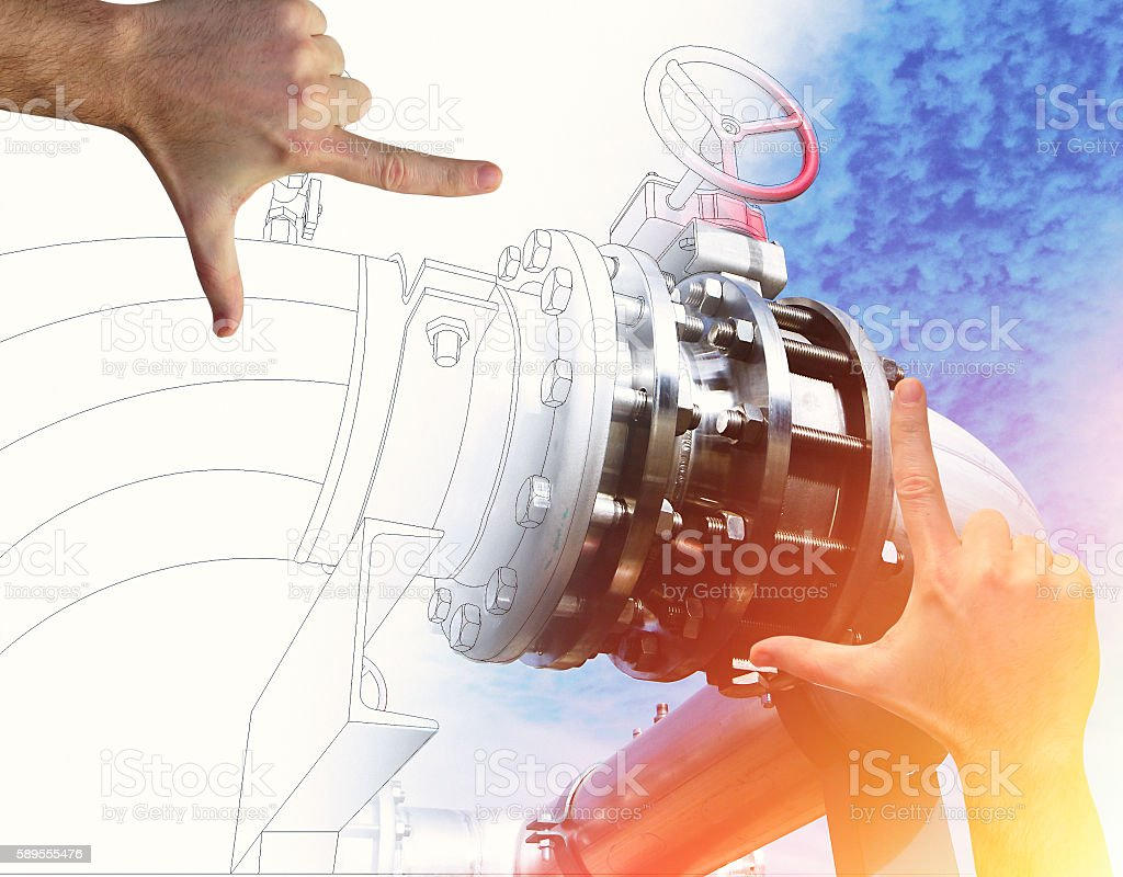 Hands Framing factory Design. Drawing and industrial equipment p stock photo