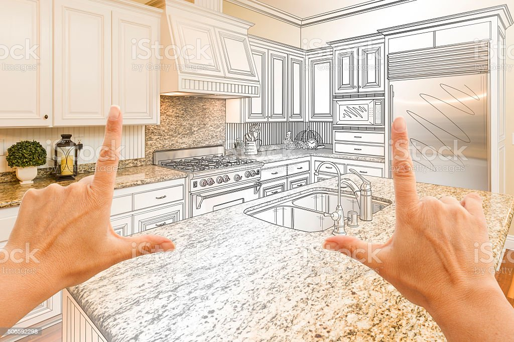 Hands Framing Gradated Custom Kitchen Design Drawing and Photo Combo stock photo