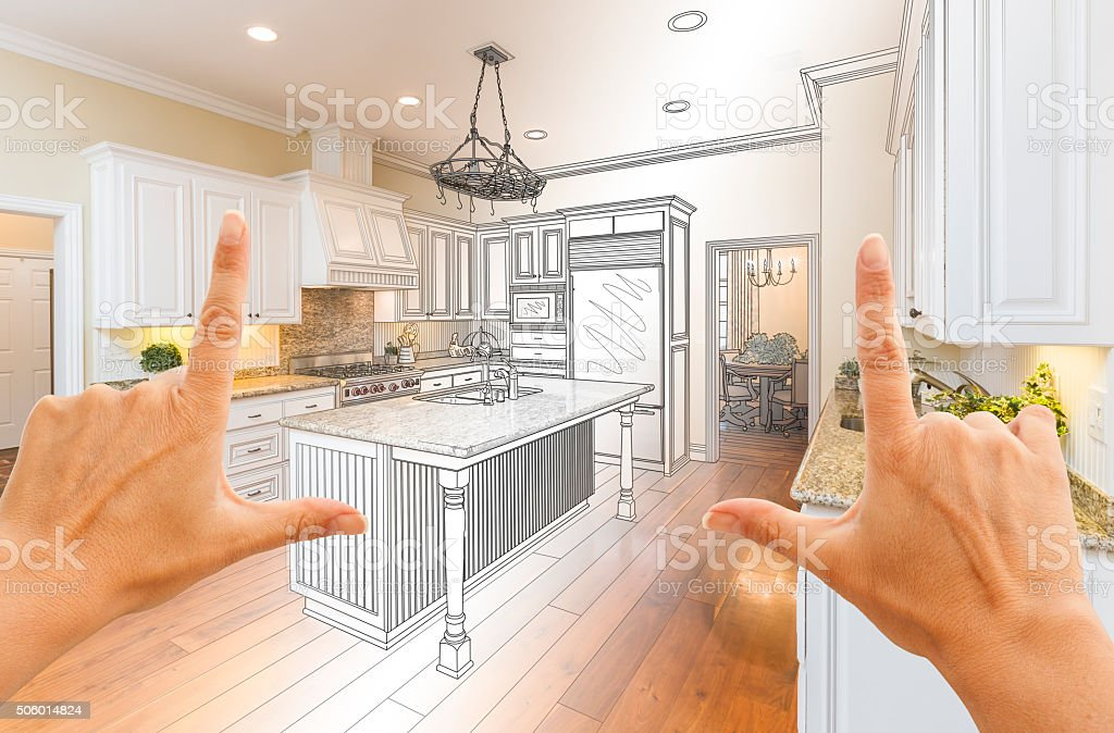 Hands Framing Gradated Custom Kitchen Design Drawing and Photo stock photo