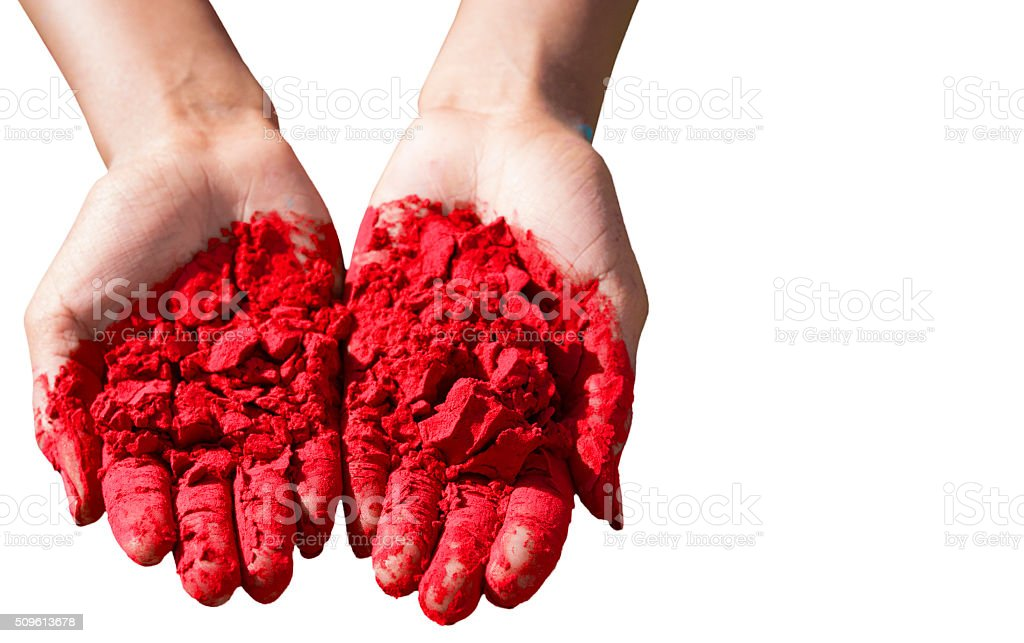 Hands Full of Dye at Holi Festival stock photo