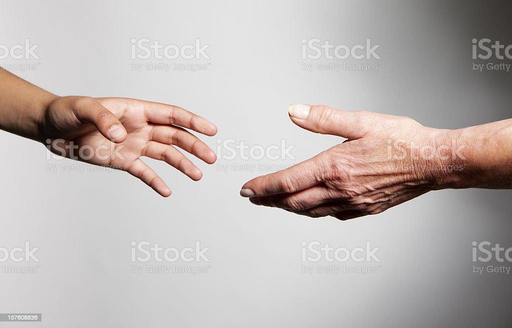 hands: generation gap royalty-free stock photo