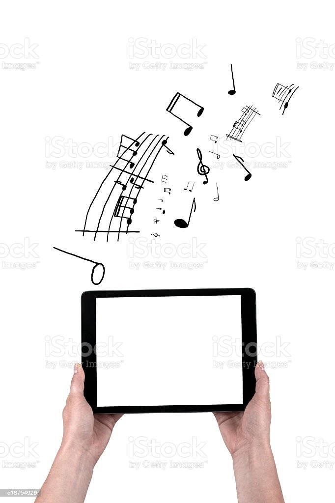 hands hold black tablet  and drawn notes stock photo