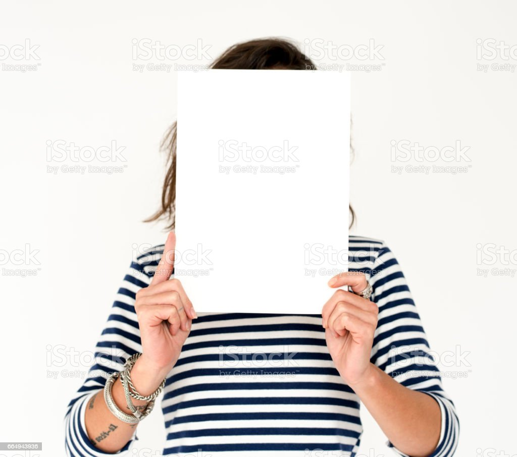 Hands Hold Blank Paper Copy Space stock photo