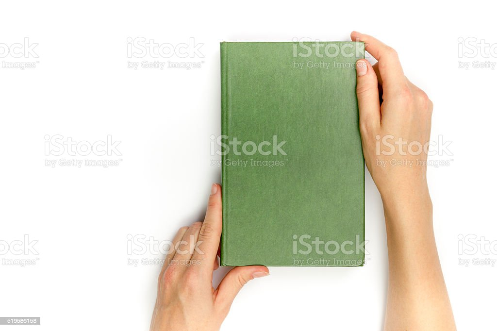 Hands hold blank red hardcover book on white background stock photo