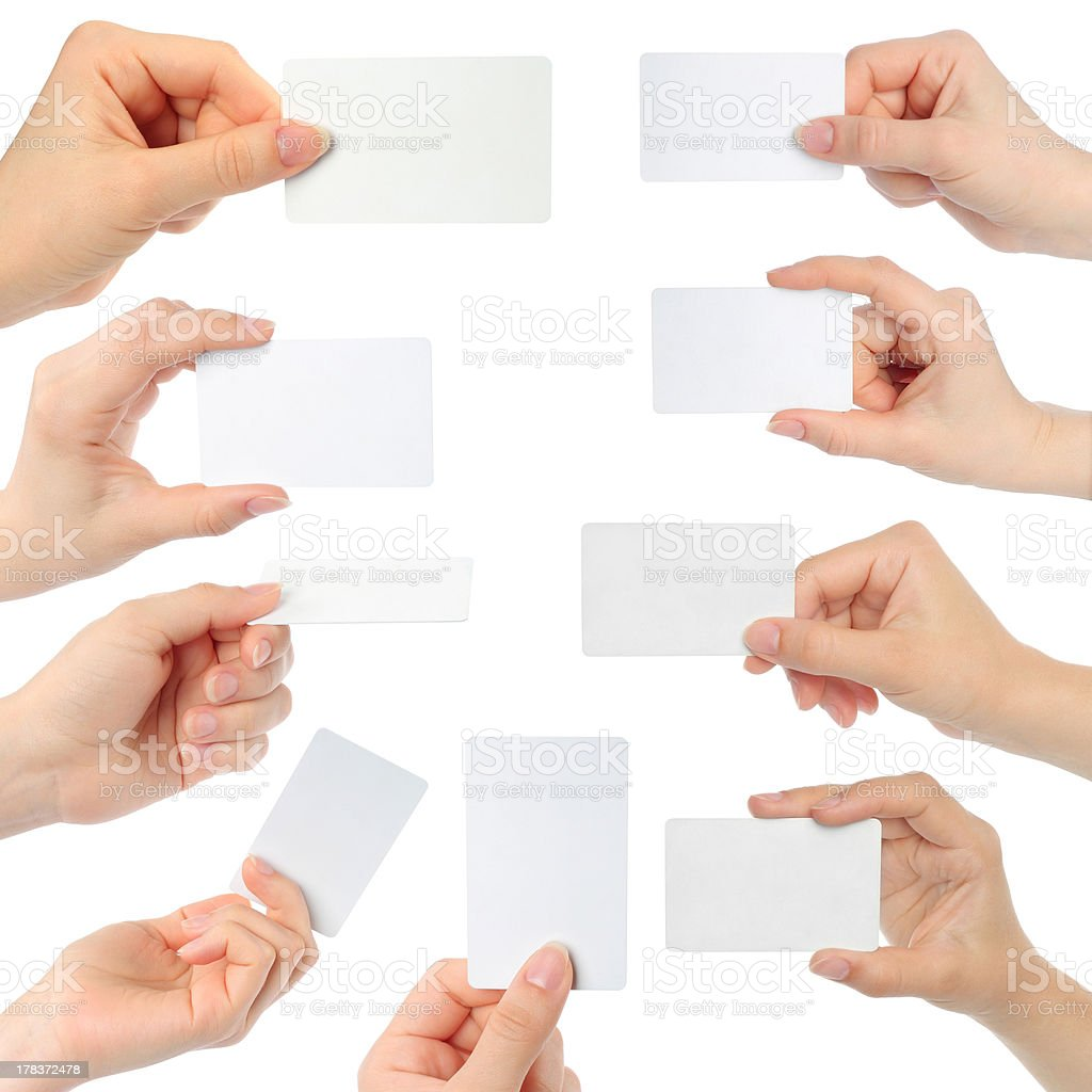Hands hold business cards stock photo