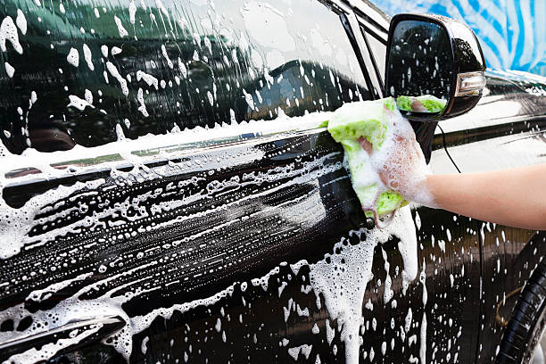 hands hold sponge for washing car stock photo
