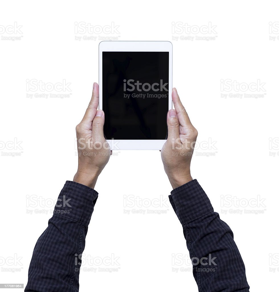 hands hold tablet pc on white background with clipping path royalty-free stock photo