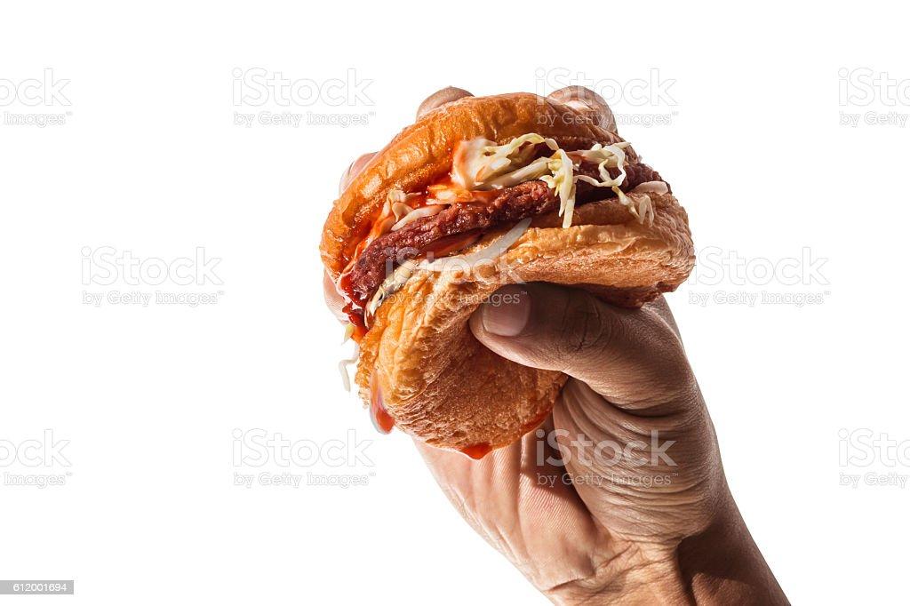Hands hold the hamburger stock photo