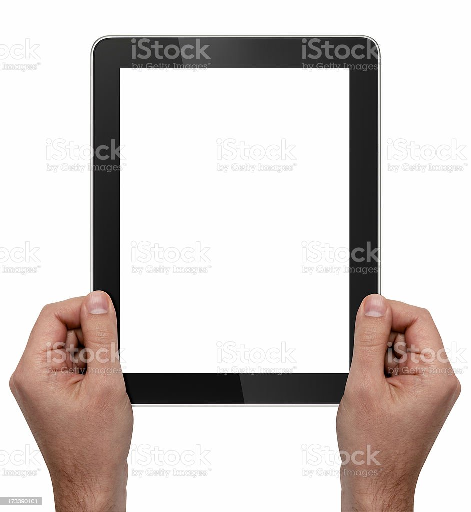 Hands holding a blank digital tablet on a white background royalty-free stock photo