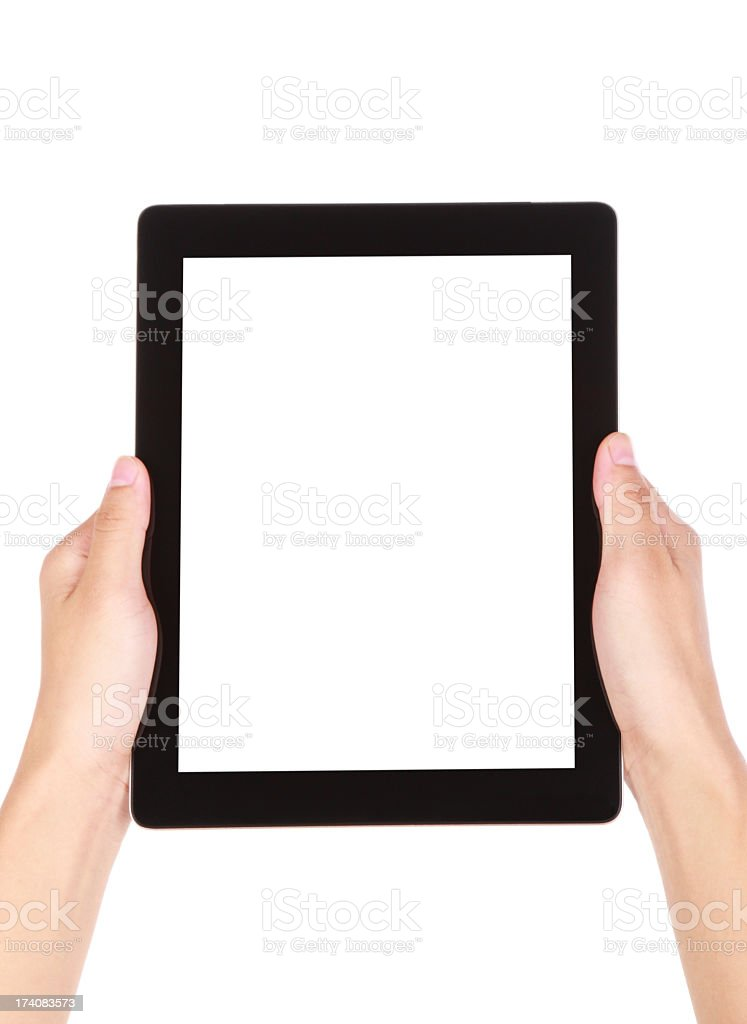 Hands holding a blank digital tablet royalty-free stock photo