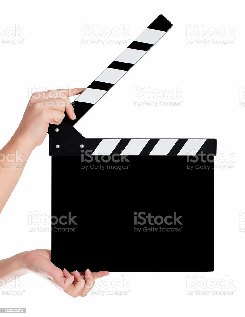 Hands holding a clapper board in white background stock photo
