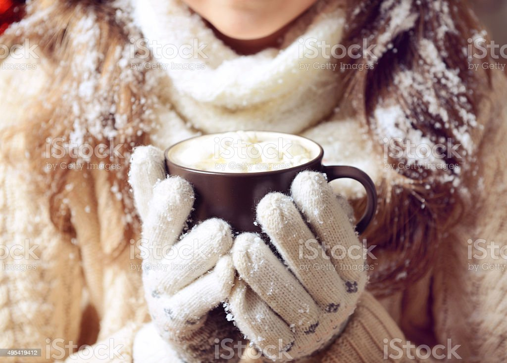 hands holding a cup of hot chocolate with marshmallows stock photo