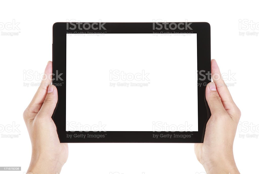 Hands holding a digital tablet stock photo