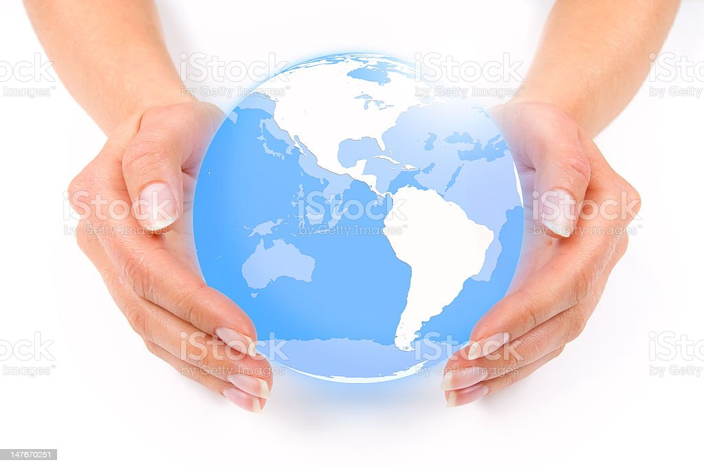 Hands holding a globe royalty-free stock photo