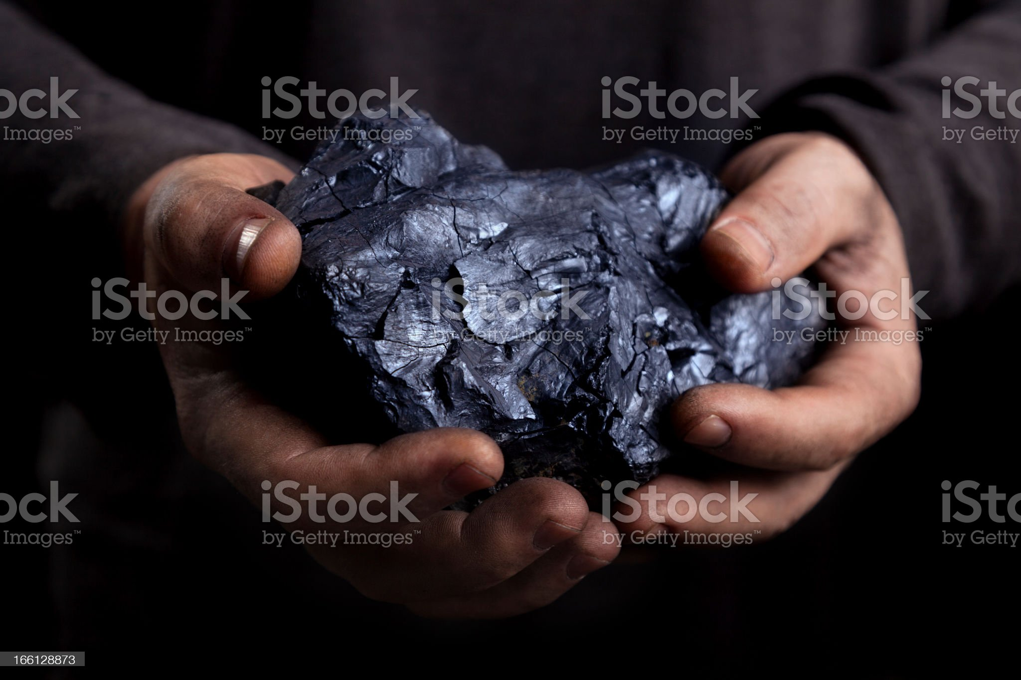 Hands holding a large piece of coal royalty-free stock photo