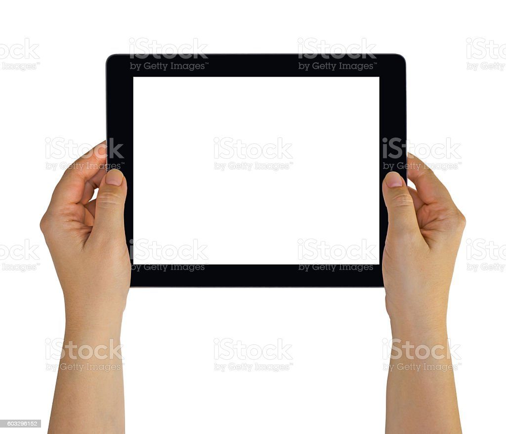Hands holding a tablet pc with white blank empty screen stock photo