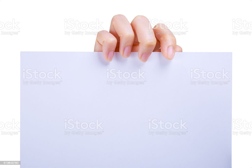 Hands Holding A White Paper stock photo