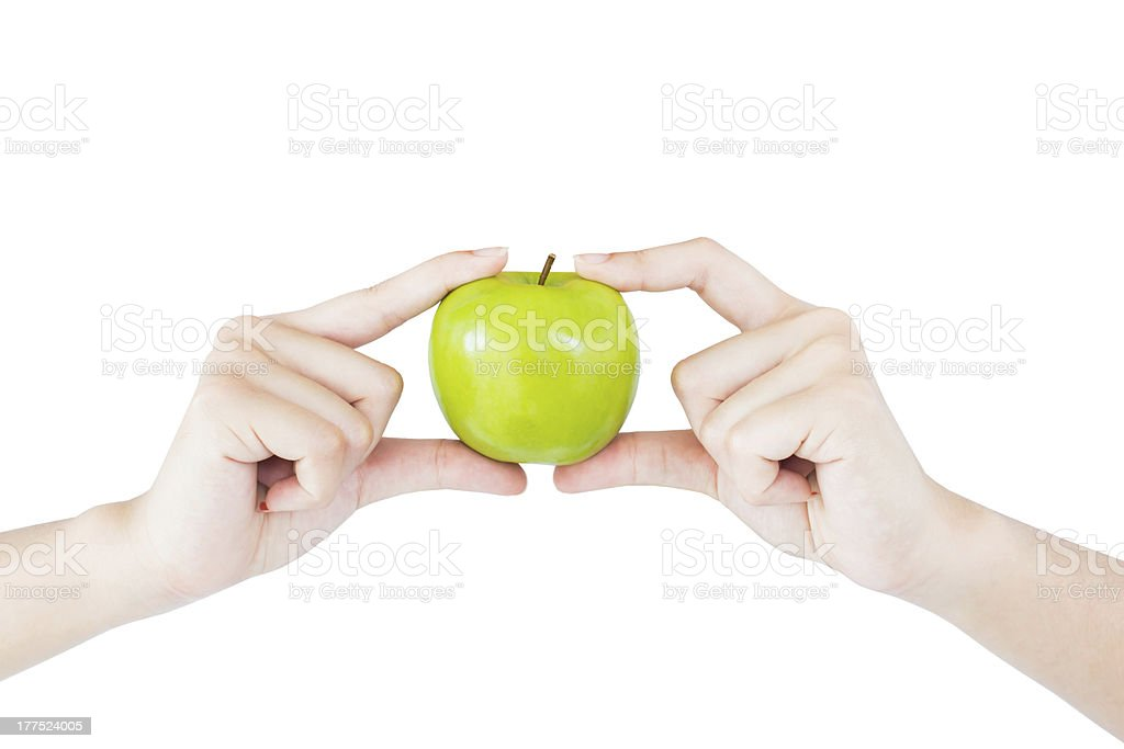 Hands Holding an Apple royalty-free stock photo