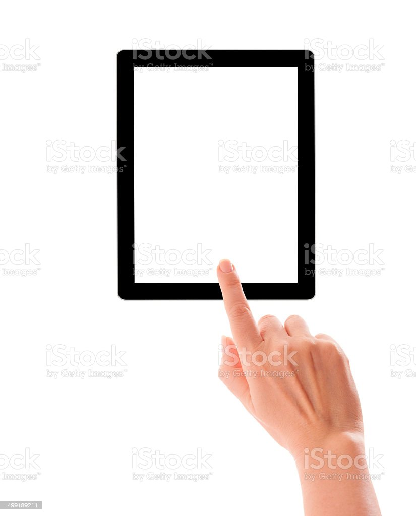 Hands holding and point on digital tablet stock photo