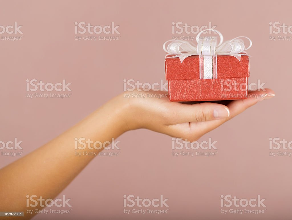 Hands holding beautiful gift box royalty-free stock photo
