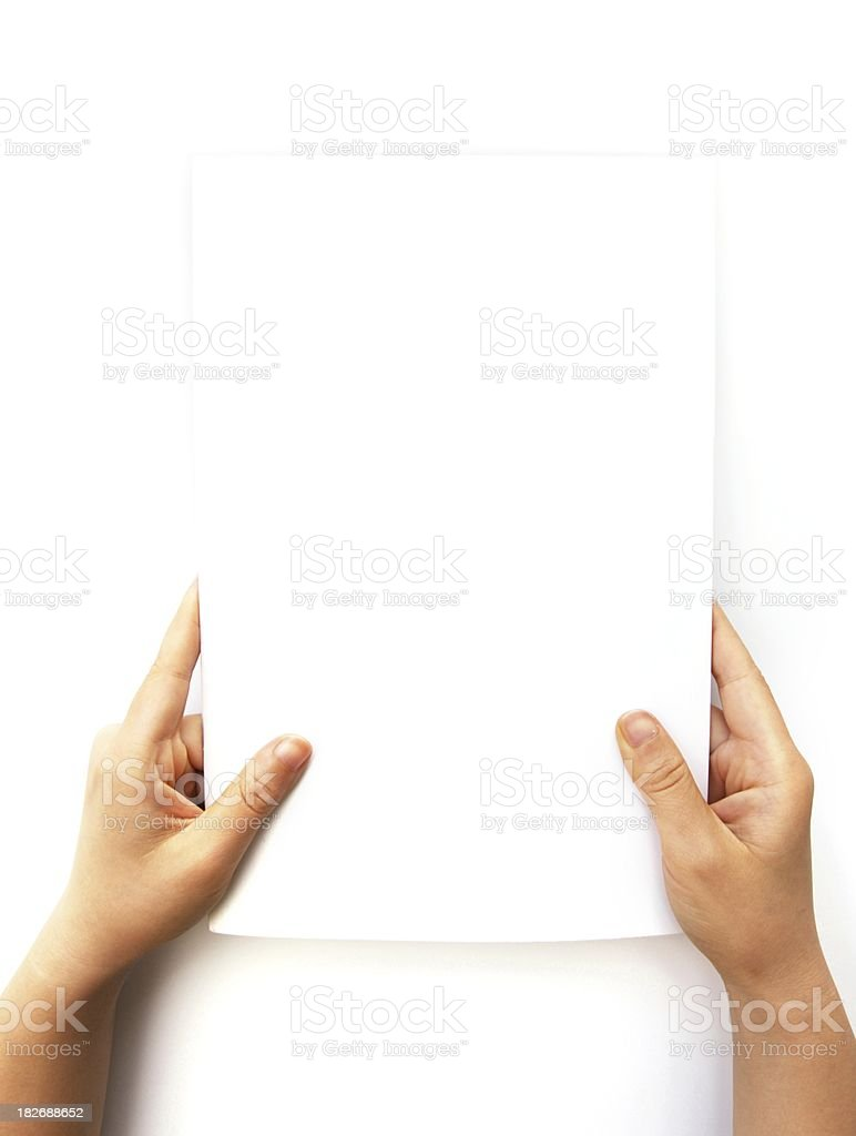 Hands Holding Blank Document stock photo