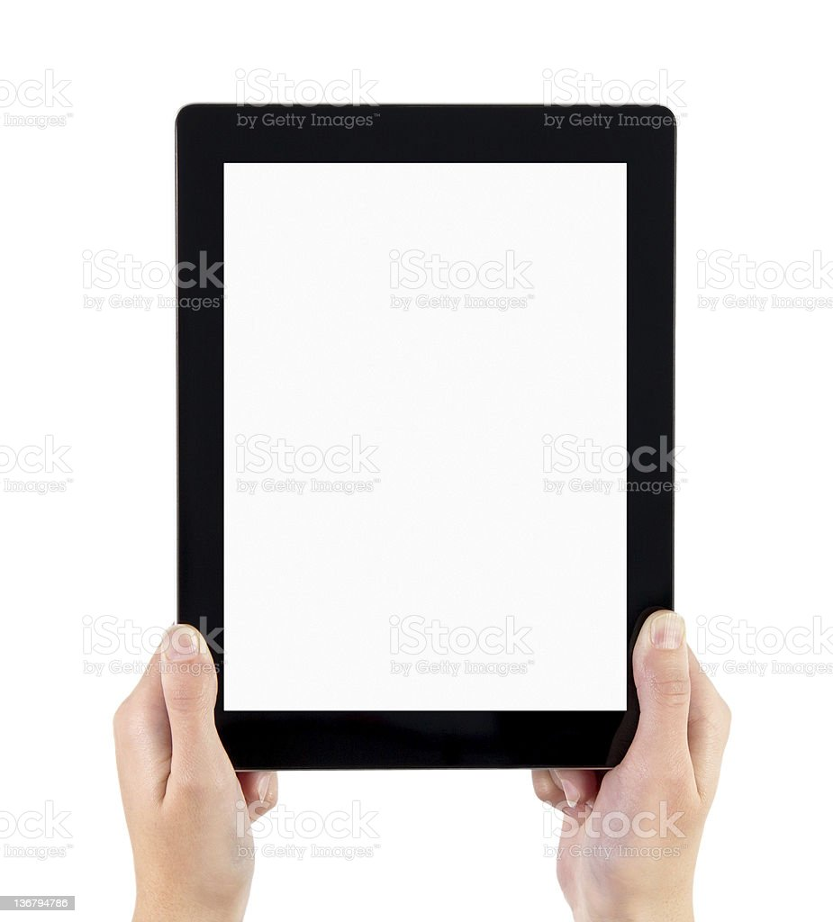 Hands holding blank electronic tablet royalty-free stock photo