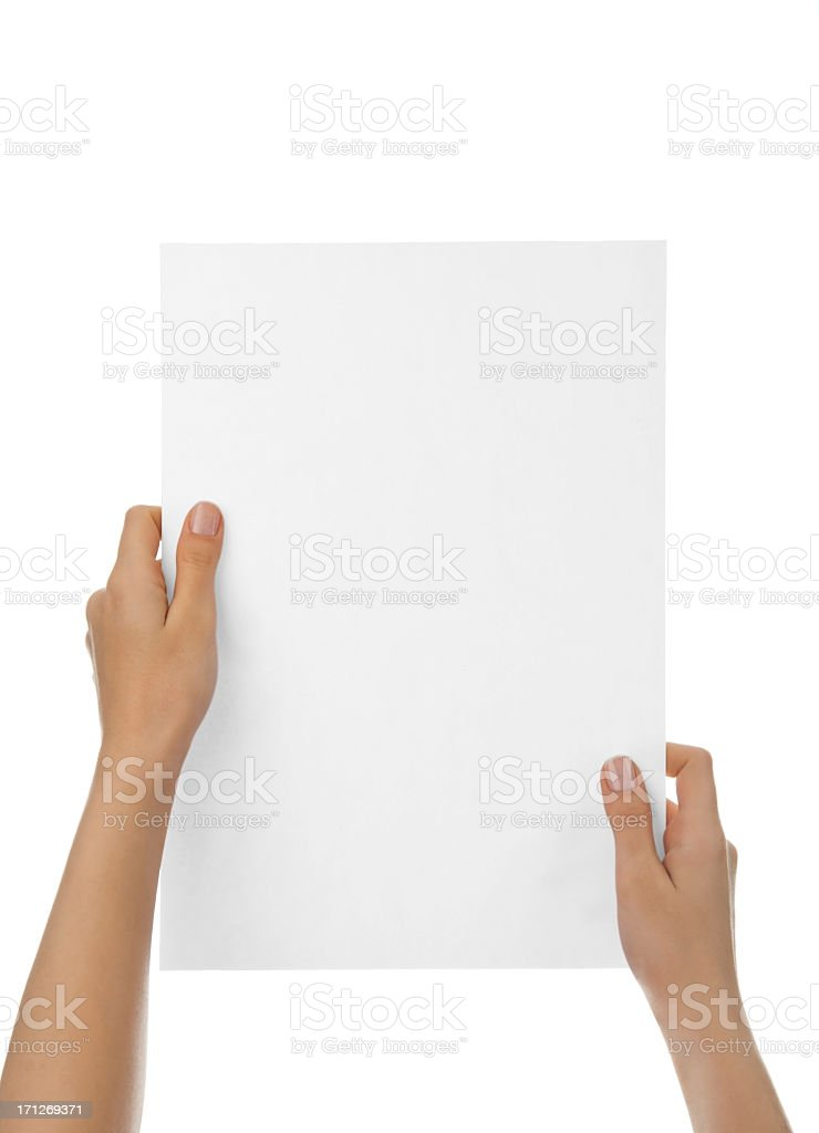 Hands holding blank paper against white background stock photo