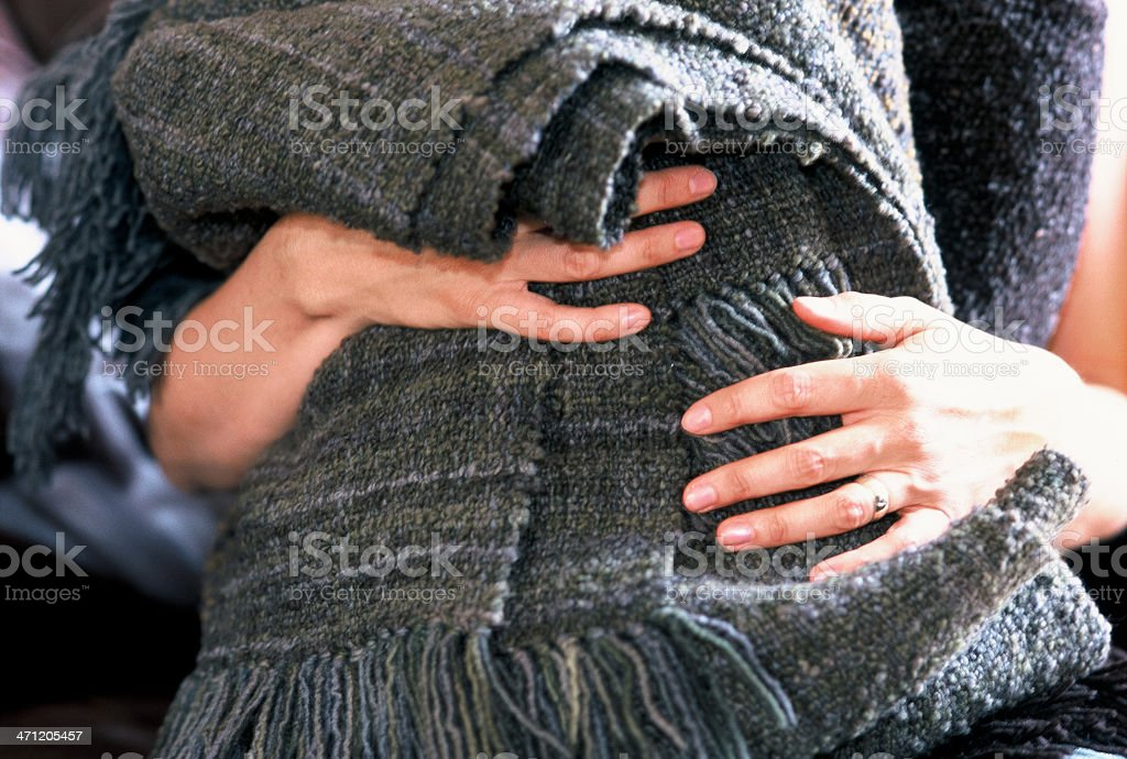 Hands holding blankets royalty-free stock photo