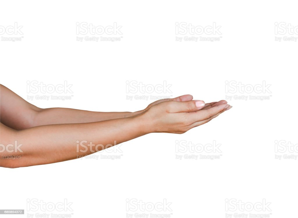 Hands holding by two arms gesture, isolated on white, with clipping path stock photo